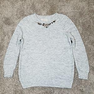 Loft Knit Jeweled Embellished Crew Neck Sweater